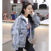 大人気の新作 春 新作 韓国 ゆったりする デニムジャケット ファッション 百掛け トップス