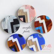 【2個】幾何学模様のラウンドアクリルパーツ 全5色 /アクセサリー/パーツ/材料/YM1-1399