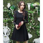 即納 定番★M~6L★パーティー 結婚式 二次会 しっかり 異素材切替 スリム効果  ドレス ワンピース