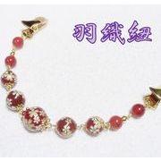 天然石 羽織紐 クリップ式 カーネリアン 和柄 桜 着物 和装小物 ハンドメイド 日本製 HH