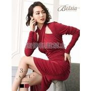 【Belsia】クロスネック袖付きキャバクラドレス ワンカラータイトミニドレス【ベルシア】*505852