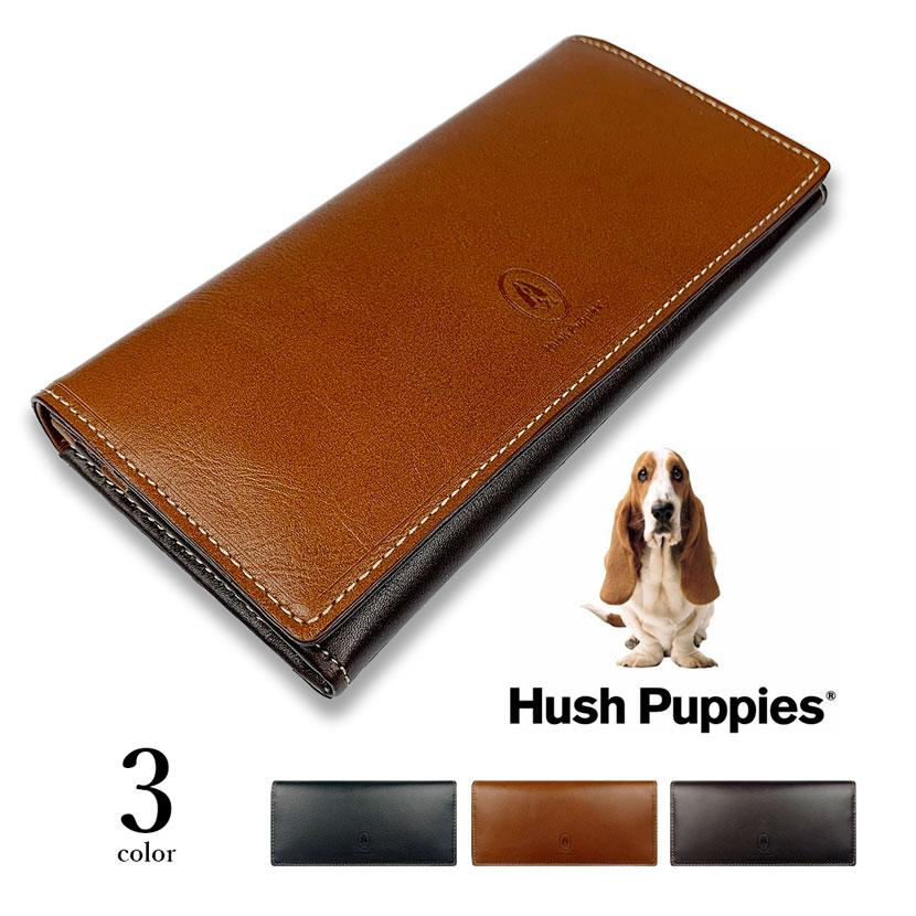 全3色 Hush Puppies ハッシュパピー リアルレザー バイカラー かぶせ 長財布 ロングウォレット スリム