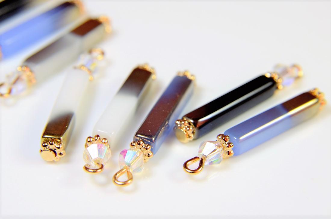 ガラス製スティック素材使用 スティックチャーム トレンドパーツ グラデーションパーツ