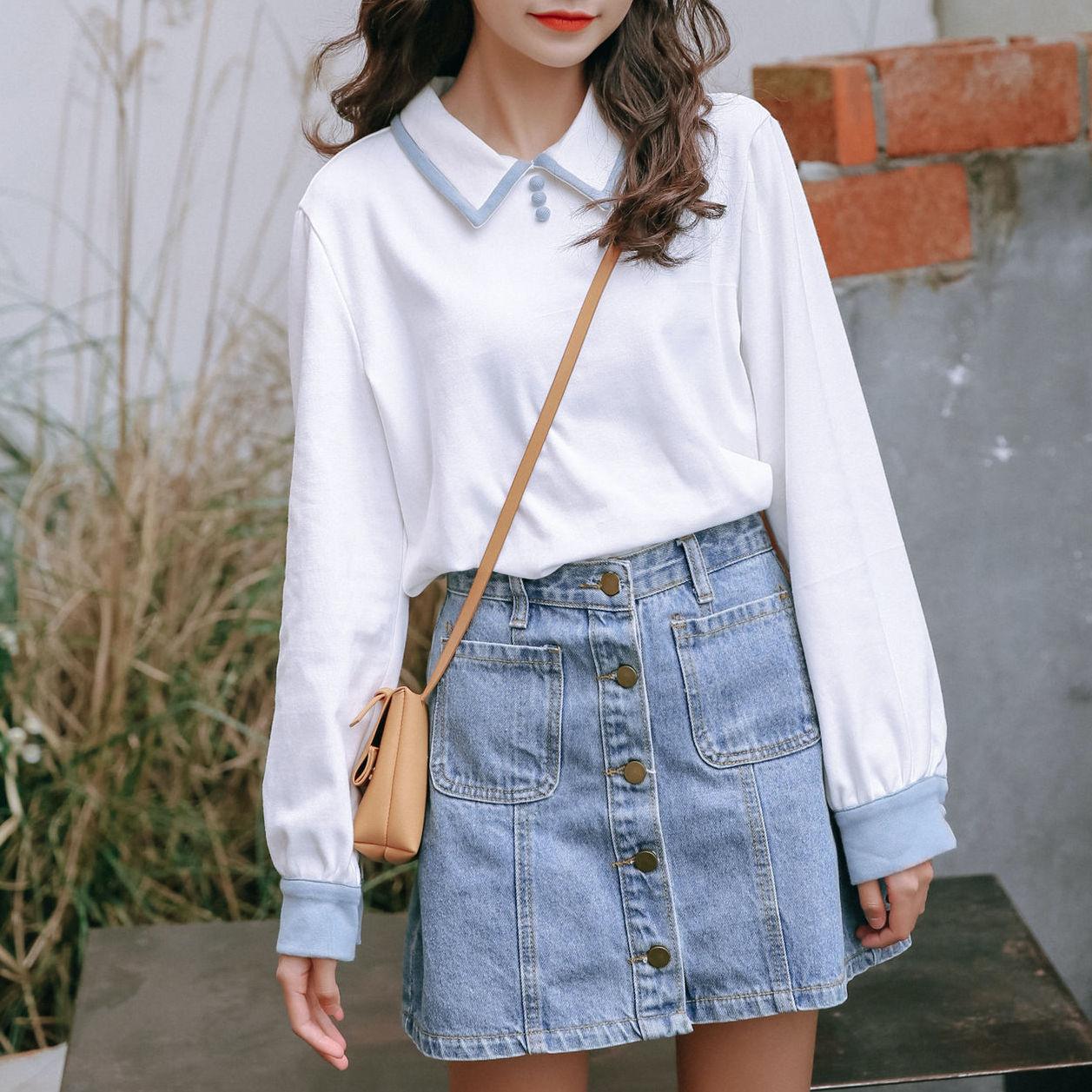 韓国 ファッション パーカー 純色 ラペルセーター