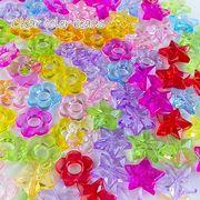 (100g)クリアカラービーズ 全2種類 ミックスカラー 100g/キッズ/アクセサリーパーツ/beads776