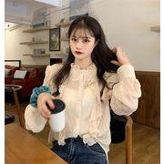 安いのに高く見える 韓国ファッション 縫付 木の耳元 シャツ 長袖 カーディガン ブラウス トップス