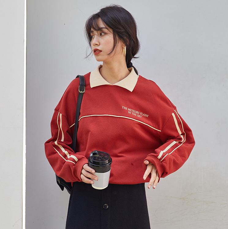 2020年春 韓国風 シンプルなレトロ 甘い 小さなラペル 女性用の厚手のプルオーバーセーター