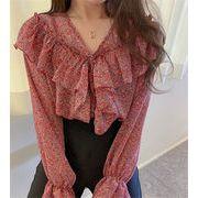超お買い得タイムセール 韓国ファッション 2020年春 新作 小さい新鮮な トップス 長袖 花柄 シャツ