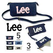 【全5色】Lee リー 3WAY デニム素材 もこもこロゴ ウォレットポシェット クラッチバッグ ポーチ 長財布