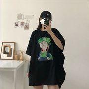 【春夏新作】ファッション/人気Tシャツ♪ホワイト/ブラック2色展開◆