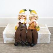【直送可】ディスプレイとしてかわいい♪ 置物 お座り人形 バナナ 2SET