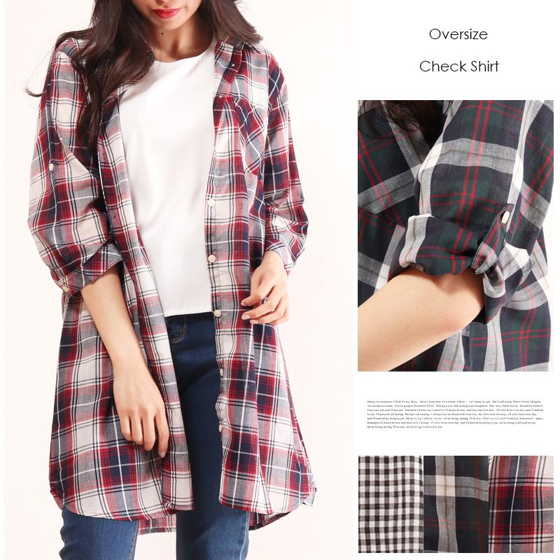 【大きいサイズ】フロントポケットギンガムチェック・チェックシャツ/薄手◆11256【ネコポス可】