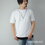 【2020新作】 半袖Tシャツ メンズ シアサッカー ネックレス付き クルーネック ポケット フェイクレイヤード
