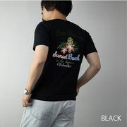 【2020新作】 Tシャツ メンズ 半袖 ロゴ ボタニカル 花柄 プリント サガラ刺繍 バック刺繍 バックプリント