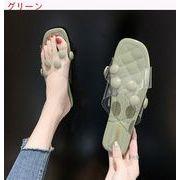 スリッパ 女 アウトドア 夏 新しいデザイン サンダル 靴 韓国風 透明な 単語 トウ