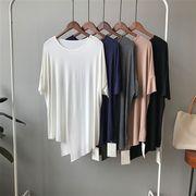 全4色 tシャツ 無地 ゆったり 韓国ファッション スリット入り オシャレ