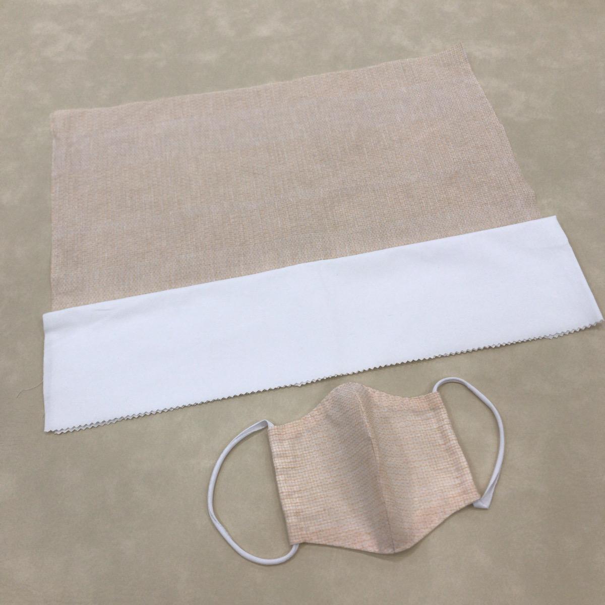 【浴衣地 手作り用マスクキット】浴衣地(綿85% 麻15%)と綿100 %白生地のセット/ステイホーム時に