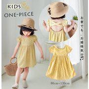 2020新作 韓国風 子供服 女の子 可愛いキッズ ワンピース ドレス ハート 背中 クロスデザイン