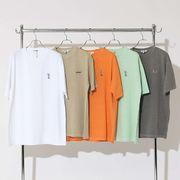 【2020春夏新作】ユニセックス ピグメント加工 ワンポイント刺繍 半袖 Tシャツ