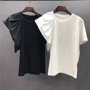 人目を引く美人 2020年夏 新作 クルーネック Tシャツ トレンド イレギュラー 半袖 気高い  トップス