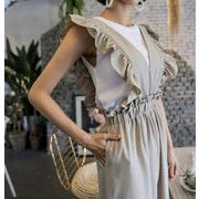 瞬間にくびれ美人 2020 韓国ファッション 深いVネック シルク 減齢 カジュアル  ワイドパンツ サロペット