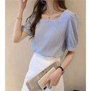 【大きいサイズM-4XL】ファッショントップス♪ホワイト/ブルー2色展開◆