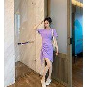 【大きいサイズM-4XL】ファッションワンピース♪パープル/グレー2色展開◆