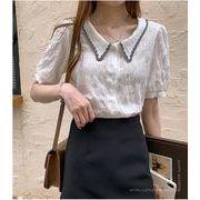 【大きいサイズM-4XL】ファッションワイシャツ♪ホワイト/ブルー2色展開◆