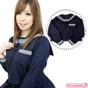 1130A■MB■送料無料■ 長袖セーラーブラウス単品 色:紺 サイズ:M/BIG