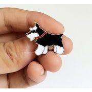犬柄 愛犬 シュナウザー ブローチ キャップバッジ ペット犬