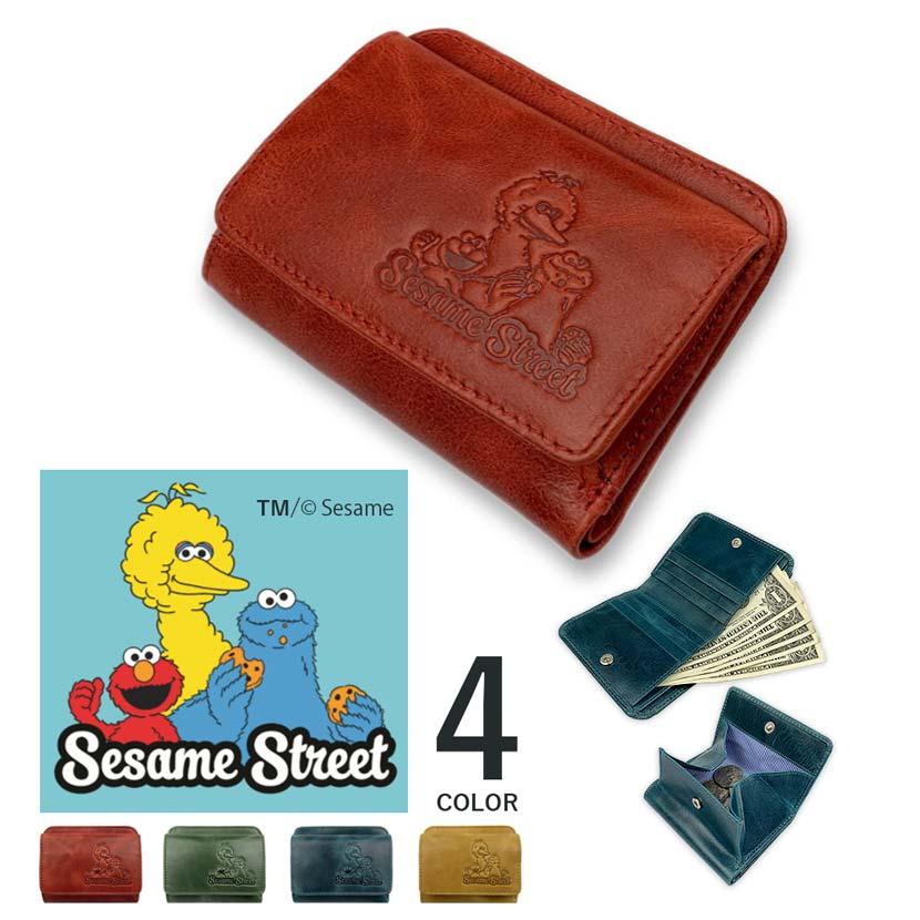 【全4色】SESAME STREET セサミストリート リアルレザー スリム2つ折り財布