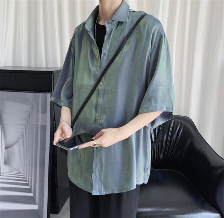 着まわし抜群 気質 OL 激安セール 偏光 明るい サテン トレンド  お出かけ シャツ 男性 韓国語 大人気