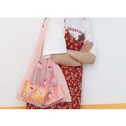 ショルダーバッグ 鞄 カバン メッシュ シースルー エコバッグ ショッピングバッグ 刺繍