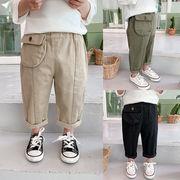 全3色 男の子 コットン素材  ポケット付き長ズボン ボトムス パンツ ボーイズ キッズ 子供服