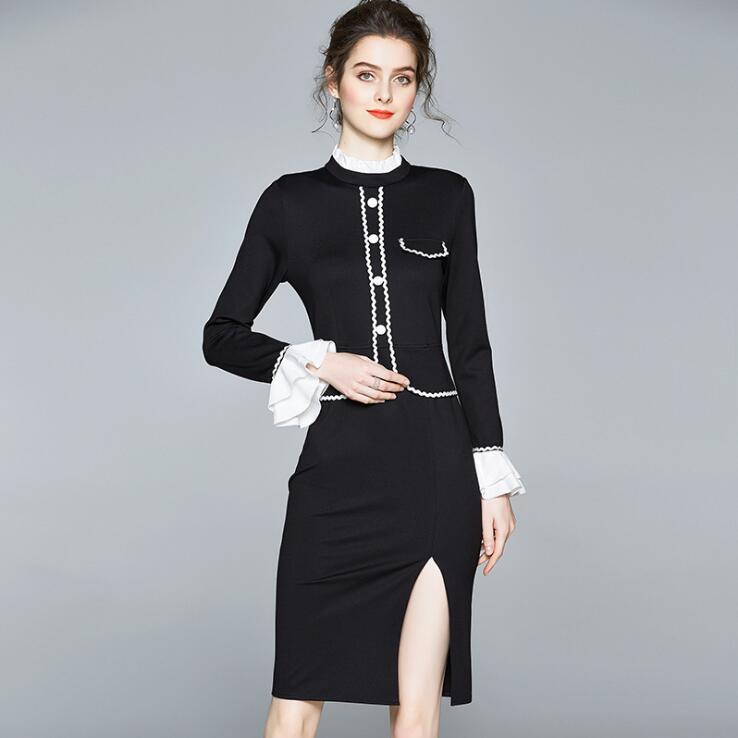 立て襟ワンピース ミディアム丈ドレス フォーマル ドレス