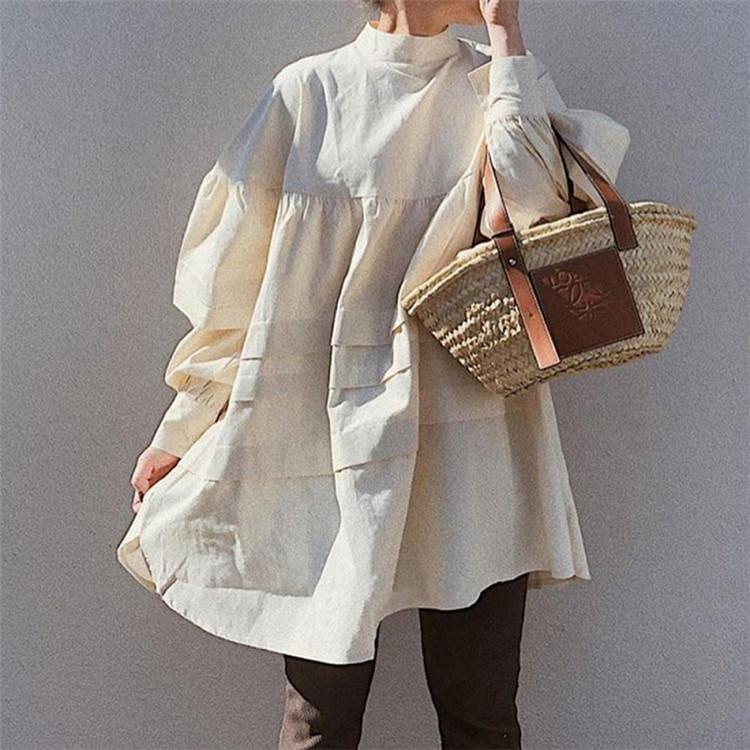 フリル 新作 レトロ 韓国版 Aライン シャツスカート ゆったりする ミニスカート 大人気 ワンピース