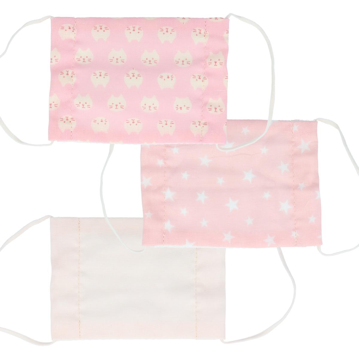 さらふわマスク キッズマスク ピンク系 子供用 3枚セット