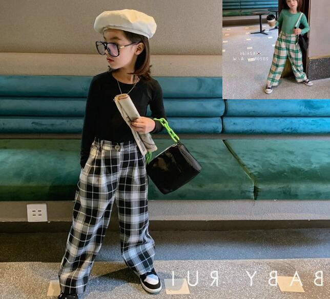 2点セット tシャツ+パンツ 春秋 子供服 キッズ  格子 チェック ファッション カジュアル系