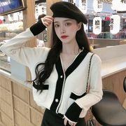 秋 年 新しいデザイン 女性服 韓国風 若い女性 長袖ニット カーディガン 襟 ルース
