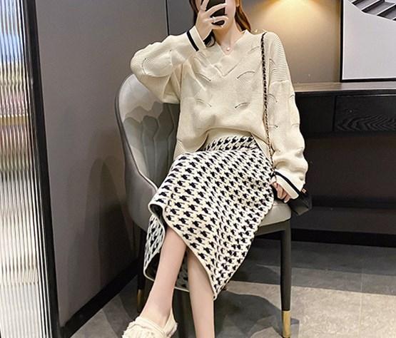 ニットセットアップ 韓国風 きれいめ スカート オシャレ カジュアルセット