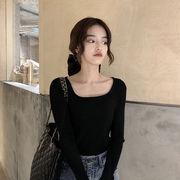 秋 新しいデザイン 韓国風 着やせ 着やせ 乗り内部シャツ トップス ネット レッド 短