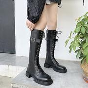 スクエアヘッド ブーツ 着やせ 騎士のブーツ 女 秋 新しいデザイン 英国スタイル 包帯