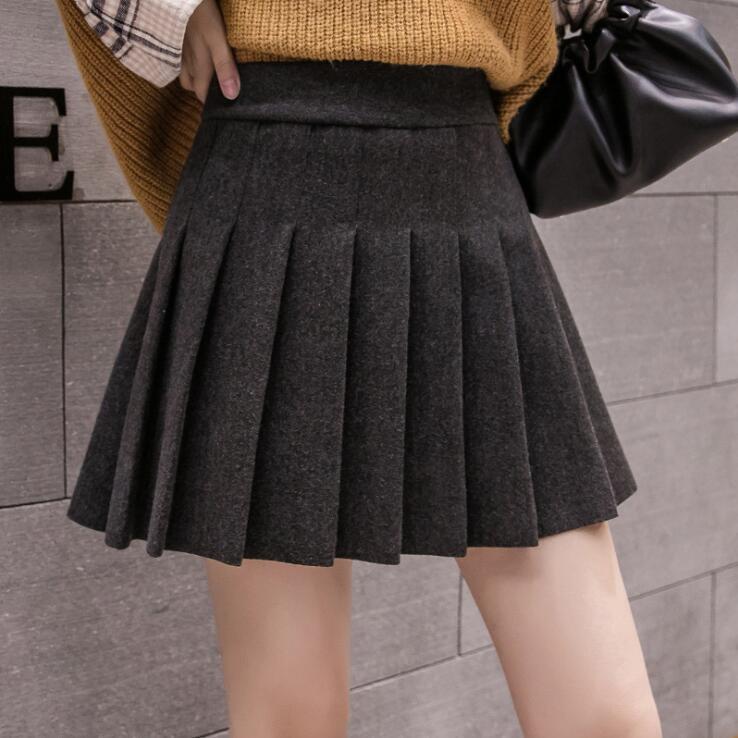 2020秋冬 ラシャスカート 大きいサイズ プリーツ スカート 裏地付き