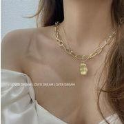 ネックレス パール シンプル 幾何 個性 デザイン 韓国ファッション