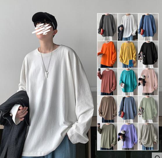 メンズ トップス ロングTシャツ ブラウス シンプル 15色
