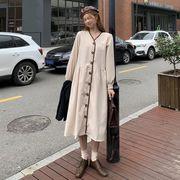 秋冬 新しいデザイン 女 韓国風 気質 長袖 ルース 法 タイプ オレンジ テリア スカ