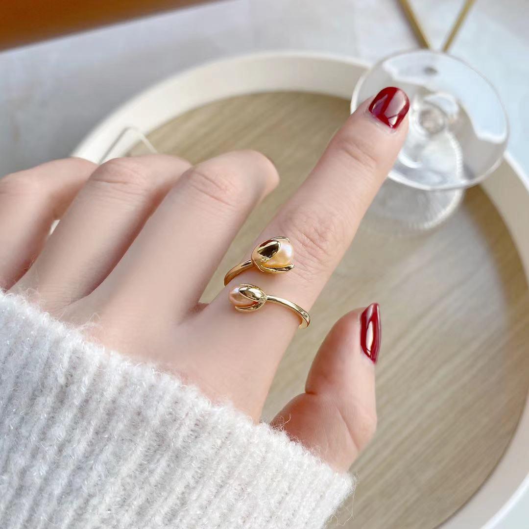 即納 国内検品発送 フリーサイズ  リング 指輪 開口指輪 ゴールドメッキ 天然淡水真珠