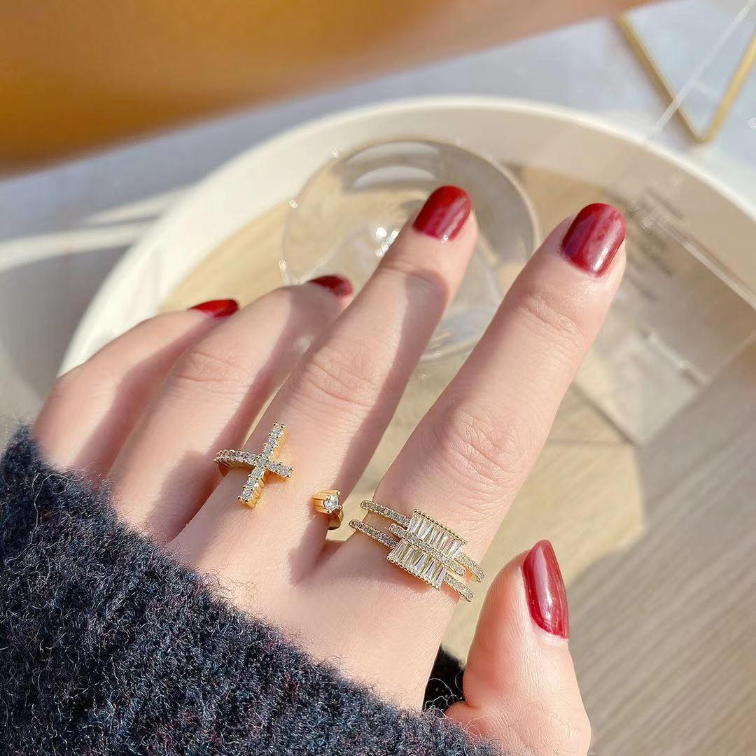 即納 高品質 フリーサイズ  リング 指輪 開口指輪 ゴールドメッキ ジルコニア 真鍮