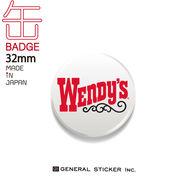 ウェンディーズ 缶バッジ 32mm WHITE WENDY'S ライセンス商品 WEN027 2020新作