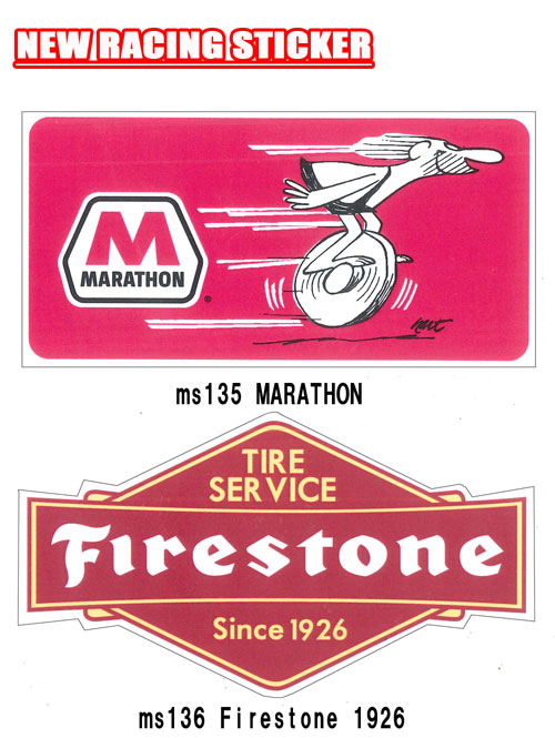 レーシング ステッカー MARATHON FIRESTONE 1926 全138種類 耐水性加工 アメリカン雑貨